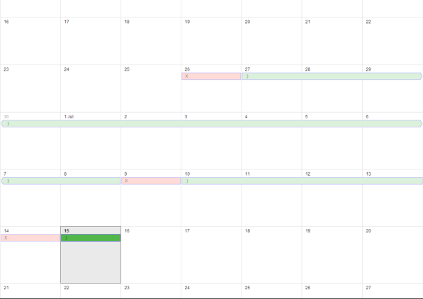 Google Calendar showing days clean and days where I relapsed with porn